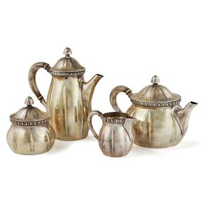 German .800 Silver 4-piece Coffee / Tea Service, Koch & Bergfeld, 51.4 ozt