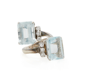 14k Aquamarine Diamond Ring