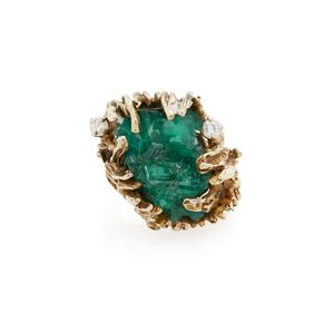 14k Gold Chatham Emerald Crystal Ring