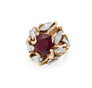 14k Diamond Garnet Ring