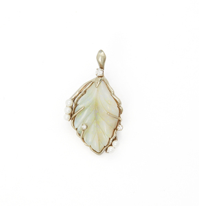 14k Opal Diamond Pearl Pendant
