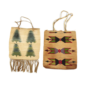 Two Plateau Indian Corn Husk Bags