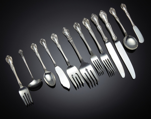 108 Piece Alvin Sterling Flatware, Chateau Rose Pattern, 91.5 ozt