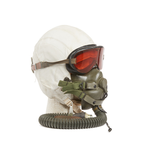 U.S. Air Force White Leather Covered Rigid Flight Helmet