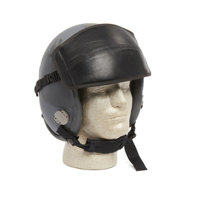 U.S. Tactical Gray Flight Helmet and Black Leather Covered Visor
