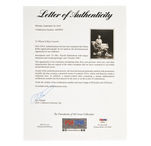 Helen Keller Signed Photograph