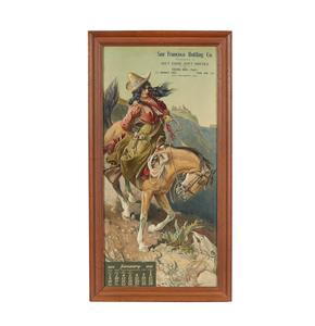 1910 San Francisco Bottling Co. Embossed Cowgirl Calendar Advertisement