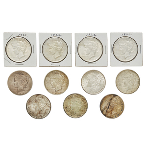 Eleven Peace Silver Dollars, 1922-1935