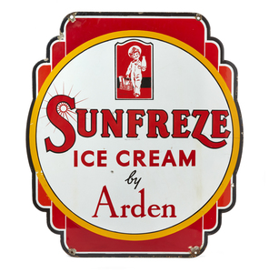 Sunfreeze Ice Cream by Arden Double Sided Porcelain Advertisement
