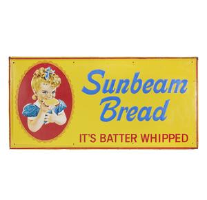 Large Sunbeam Bread Embossed Tin Advertisement