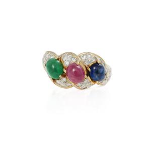 18k Ruby, Emerald, Sapphire Ring