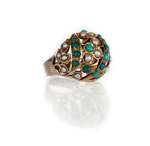 Turquoise Pearl 14K Ring