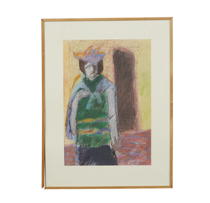 Pastel Painting, Irving Marcus, Figure in Doorway