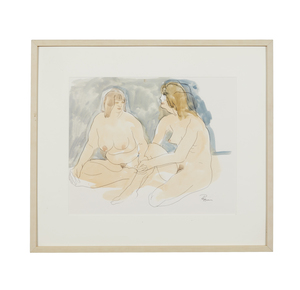 Watercolor Painting, Ruth Rippon (b. 1927), Nude Figures
