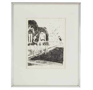 Lithograph, Irving Marcus (b. 1929), Pool Scene