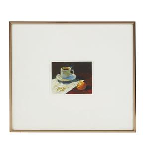 Painting, Jian Wang (b. 1958), Sill Life with Coffee Cup and Orange