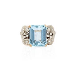 18k Diamond Aquamarine Ring