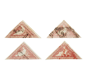 Cape of Good Hope Stamps, 1853-1858 Printed by Perkins, Bacon and Co. - #3, qty 4, 1 as var b., 1 as var a., 1 red cancel, F-VF, cat $2000+