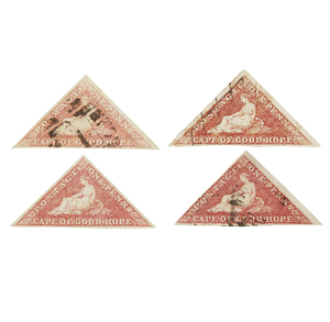 Cape of Good Hope Stamps, 1853-1858 Printed by Perkins, Bacon and Co. - #3, qty 4, 1 as var b., 2 as var a., F-VF, cat $2000+
