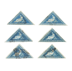 Cape of Good Hope Stamps, 1853-1858 Printed by Perkins, Bacon and Co. - #4, qty 6, shades, F-VF, cat $400+