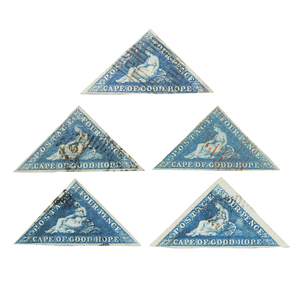 Cape of Good Hope Stamps, 1853-1858 Printed by Perkins, Bacon and Co. - #4, qty 5, shades, 1 red cancel, F-VF, $350+