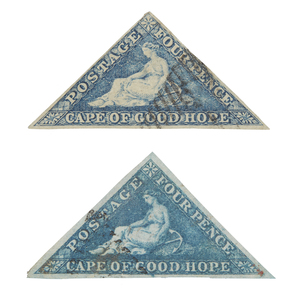 Printed by De La Rue and Co. - #13 and #13b (steel blue), F-VF, cat $415