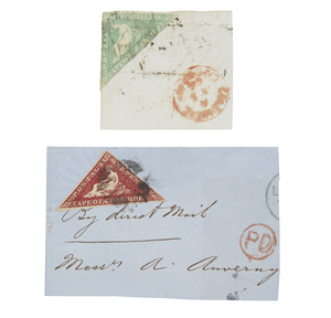 Printed by De La Rue and Co. - #12 on piece, #15 on piece, postal markings, cat $820+