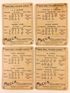 Four 1911 T201 Mecca Double Folders Baseball Cards