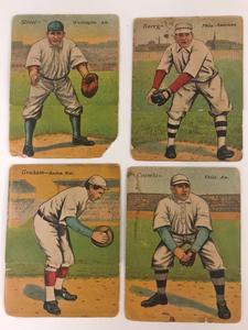 Four 1911 T201 Mecca Double Folders Baseball Cards