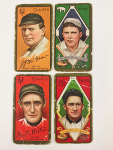 Four 1911 T205 Gold Border Baseball Cards