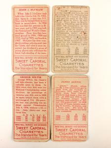 Four 1911 T205 Gold Border Baseball Cards