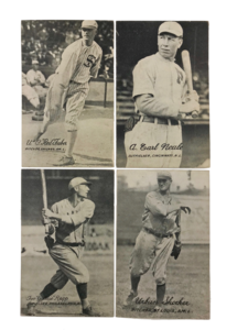 Four 1921 Exhibits W461 Oversized Baseball Cards