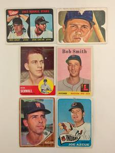 Six Vintage Baseball Cards