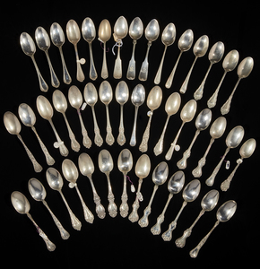 44 Assorted Sterling Silver Teaspoons