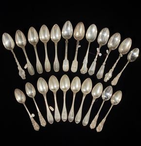 Assorted Coin & Sterling Silver Spoons