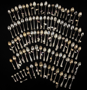 103 Assorted Silver Souvenir and Salt Spoons