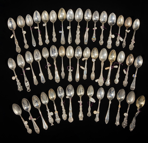 46 Sterling Silver Souvenir Spoons