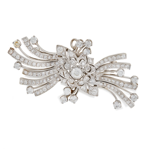 Diamond 14k Art Deco Brooch / Pendant