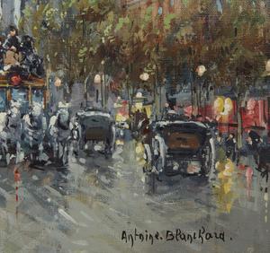 Painting, Antoine Blanchard (1910-1988), Boulevard de la Madeleine
