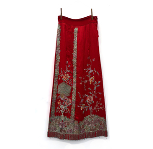 Chinese Red Silk Embroidered Skirt
