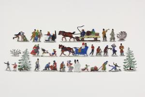 28 German Polychrome Enamel Painted Pewter Miniature Figures