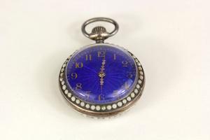 Swiss .800 Fine Gold Gilt and Enamel Pocket Watch