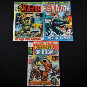 Marvel Comic Collection - Astonishing Tales (featuring Kazar) #8, #13, #14, Jungle Action #1 and #21 (featuring the Black Panther), and Kull the Conqueror #4