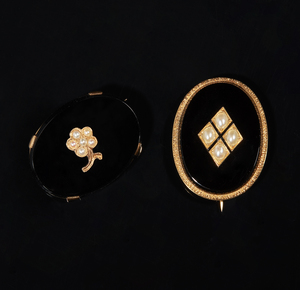 Pearl, Onyx and 14k Gold Mourning Jewelry