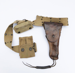 U.S. WWII Webb Belt, Brown Leather Holster for .45 Automatic and Clip Pouch