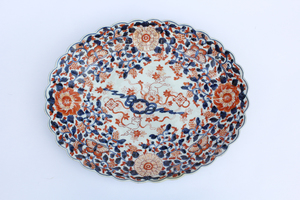19th Century Oval Japanese Porcelain Platter with Fluted Rim, Imari Ware