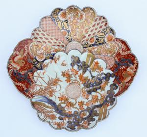 19th Century Molded Japanese Porcelain Chrysanthemum Dish, Fukugawa Ware