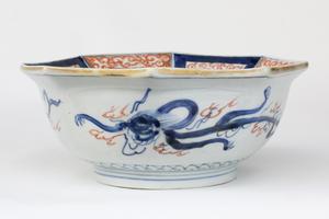 19th Century Octagonal Japanese Porcelain Bowl, Imari Ware