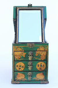 Vintage Green Chinese Lacquer Vanity Box