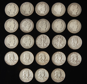 23 Assorted Pre 1964 Silver Half Dollars